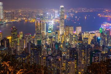 Wall Mural - Night view of Hong Kong cityscape in Hong Kong, China