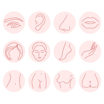Set of body parts icons. Illustrations for spa and beauty salon, plastic surgery.