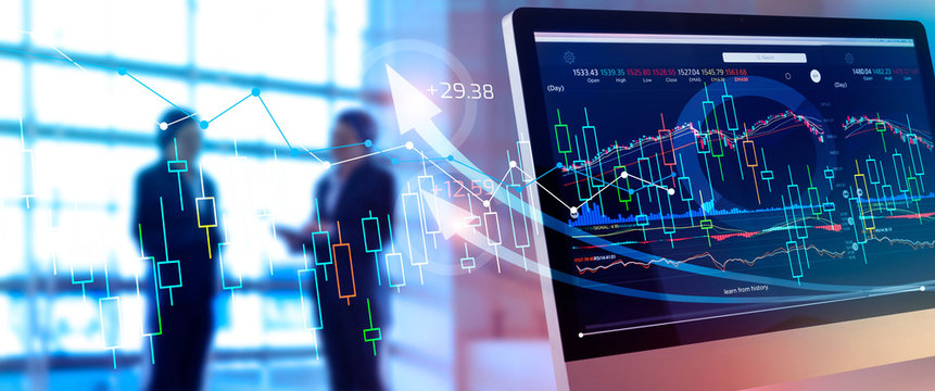 Financial data on screen. Abstract business. Investing and stock market gain and profits with graph charts, diagrams, growth, financial figures and investor business on background.