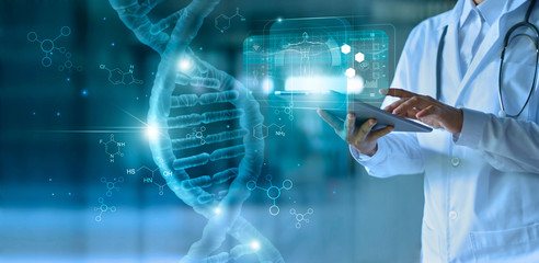 Medicine doctor touching electronic medical record on tablet. DNA. Digital healthcare and network connection on hologram modern virtual screen interface, medical technology and network concept. Wall mural