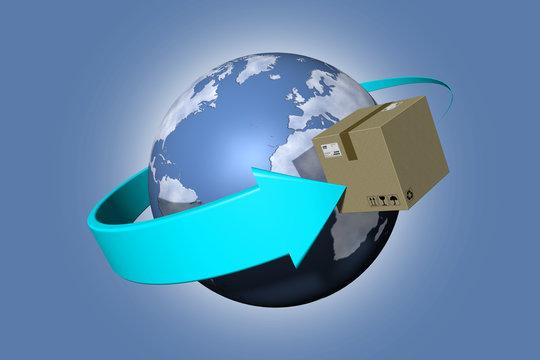Spedizione intorno al mondo. Pacchi ruotano attorno al globo per essere consegnati..