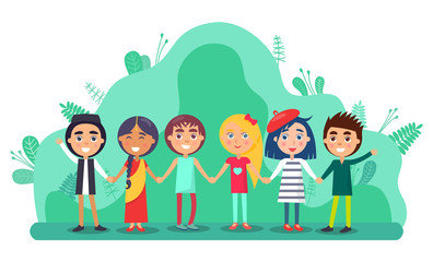 Aluminium Prints Rainbow Group of children holding hands and smiling. Full length view of cute little kids in colourful clothes standing together. Friendship and childhood vector