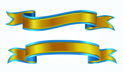 set of decorative gold ribbon banners isolated