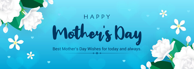 Wall Mural - Happy Mother's Day Banner Vector illustration. Thai Jasmine flowers frame on blue bokeh background