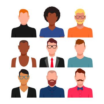 Diverse people avatar set