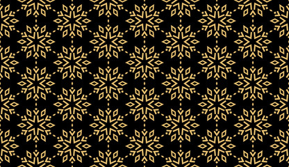 Foto op Canvas Geometrisch Abstract geometric pattern with lines, snowflakes. A seamless vector background. Black and gold texture. Graphic modern pattern