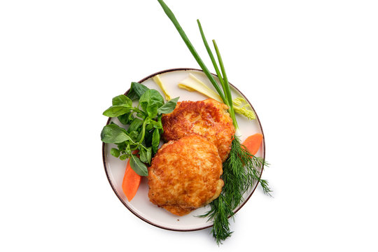 Baked cutlet stuffed with ham and cheese, covered with melted cheese isolated on white