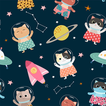 Space seamless pattern  with cartoon, cute kittens in stylish shorts. Vector illustration.
