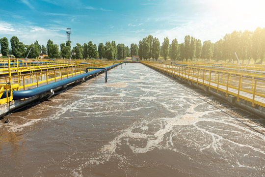 Tank or reservoir for biological purification and cleaning of dirty sewage water by active sludge. Modern technologies in wastewater treatment plant