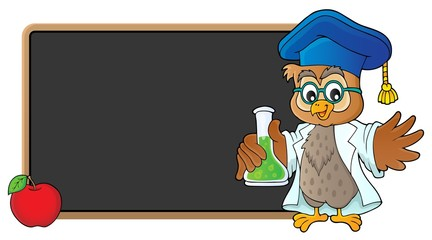 Poster Voor kinderen Owl teacher with chemical flask theme 3