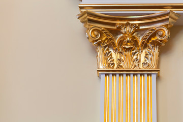 Decorative column with golden portico Fototapete