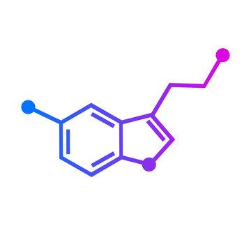 Serotonin chemical formula. Hormone of happiness