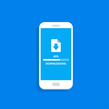 Downloading process on smartphone screen. Software interface background. Vector illustration in flat style.