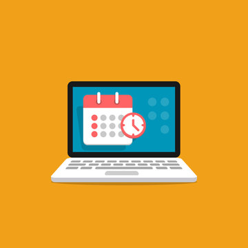 Calendar icon on screen laptop. Schedule, appointment, important date concept. Vector illustration in flat style.