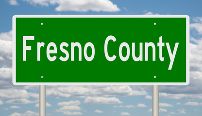 Rendering of a green highway sign for Fresno County California