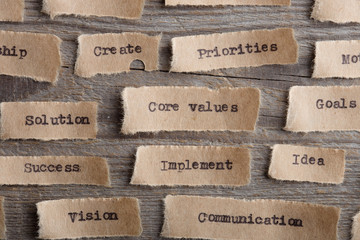 CORE VALUE word on a piece of paper close up, business creative motivation concept