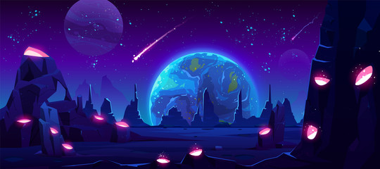 Foto op Aluminium Violet Earth view at night from alien planet, neon space background with falling meteor in dark starry sky, fantasy extraterrestrial landscape with craters full of glowing liquid, Cartoon vector illustration