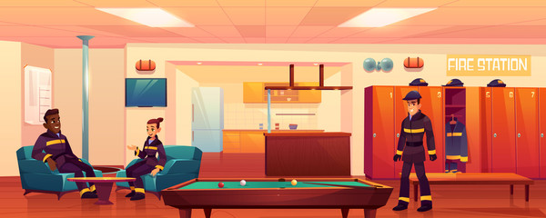 Firefighters in fire station recreation room interior, people relaxing in place for leisure with steel pole, billiard table, kitchen area, armchairs, tv, lockers, signaling Cartoon vector Illustration