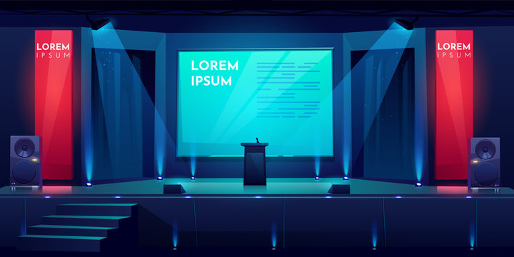 Conference hall, stage for presentation, empty dark scene interior with tribune, microphone, glowing spotlights illumination, huge screen and acoustic dynamics by sides, Cartoon vector illustration