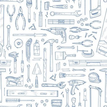 Monochrome seamless pattern with manual and powered household tools for woodworking. Backdrop with equipment for home repair hand drawn with contour lines on white background. Vector illustration.