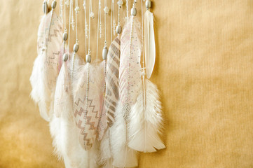 Closeup details dreamcatcher with painted silver light pink feathers on craft paper background