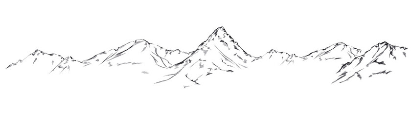 Mountain sketch. Handdrawn illustration isolated on white background Wall mural