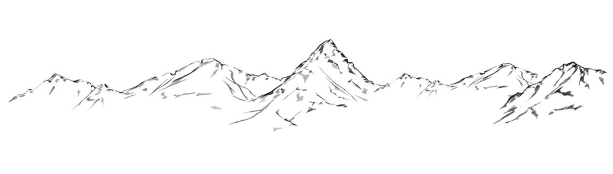 Mountain sketch. Handdrawn illustration isolated on white background