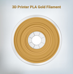 Fototapeta Vector illustration of special  glittering composite pla or abs gold filament for 3D printing wounded on the spool. Plastic gold special material for a 3D printer.  obraz
