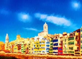 Obraz Peinture surréaliste. Rivière Onyar à Gérone et ses maisons colorées. Catalogne, Espagne - fototapety do salonu