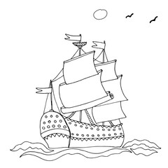 Black line ship or boat for coloring book