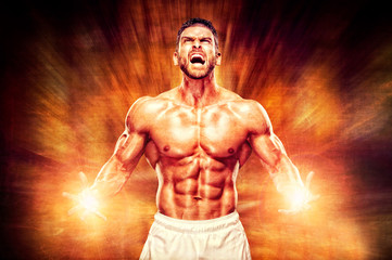 Muscular Men Screaming from The Rush of Energy Trough His Body