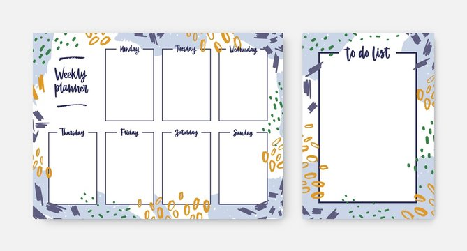Bundle of weekly planner and to-do-list templates with frame decorated by brush strokes, paint traces and scribble. Effective daily task and appointment planning. Modern creative vector illustration.