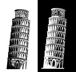 leaning tower of pisa black and white vector silhouette design set - italian landmark monochrome outline