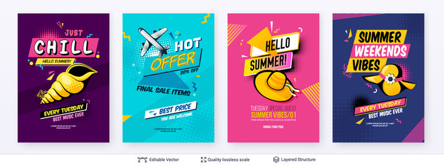 Canvas Prints Pop Art Set of summer season ad posters in pop-art style.