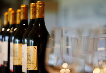 Bottles of French red wine are displayed at the Chateau du Pavillon in Sainte-Croix-Du-Mont,