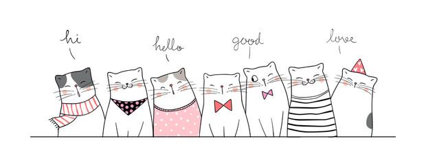 Draw banner cute cat saying hi so funny.