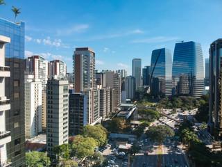 Vista aérea do Itaim Bibi em São Paulo, Brasil