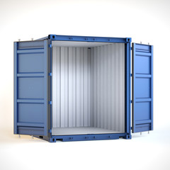 Shipping container with open doors. Global shipping and delivery concept on white background. 3d illustration.