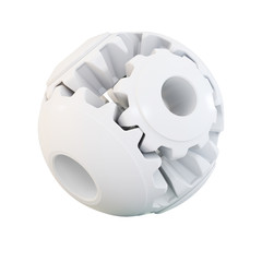 3d cogs white abstract sphere, on white background 3d illustration