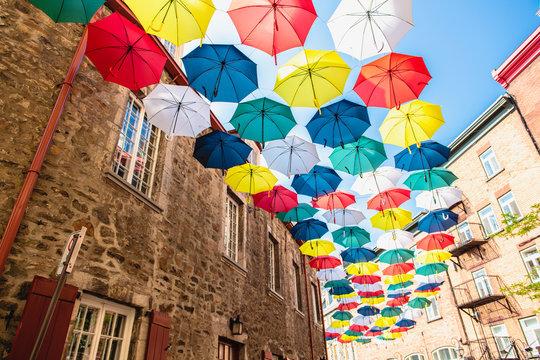 Lot of Umbrellas in Petit Champlain street Quebec city
