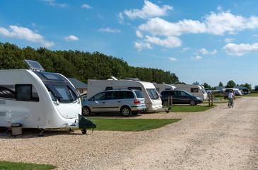 Cheltenham, Gloucetsershire, England, UK. July 2019.  A caravan park in the Cotswolds region of Gloucestershire.