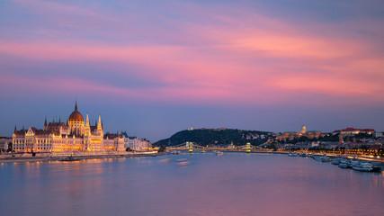 Budapest, Hungary. Panoramic cityscape image of Budapest, capital city of Hungary during twilight blue hour.