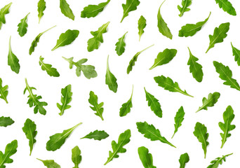 Pattern of fresh arugula or rucola salad leaves
