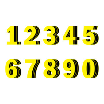 Yellow numbers from one to ten. Set of numbers 1-10,