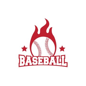 Baseball sport logo design with star, ball and flame illustration