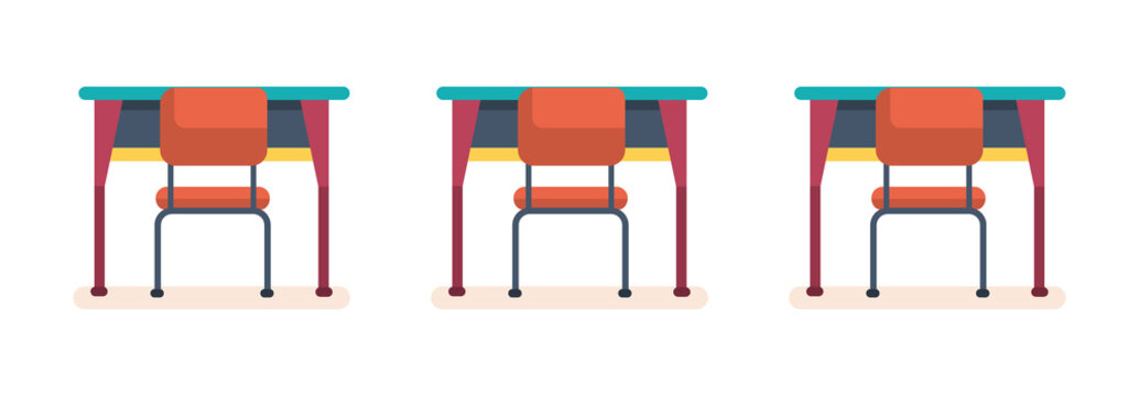 School desks and chairs in the classroom.
