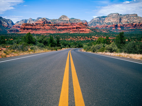 Driving in Sedona, Arizona towards Mescal Mountain