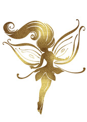 Watercolor and Golden silhouettes of cute fairies for girls and birthday