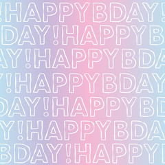Vector Happy Birthday typography seamless background pattern. Vaporwave happy bday design great for wrapping paper and coupon cards.