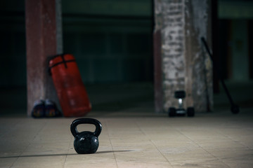 Kettlebell on the gym floor